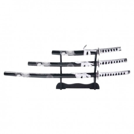 KATANA SET. 3 UNITS WITH STAND. WHITE FLOWERS
