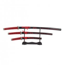 KATANA SET. 3 UNITS WITH STAND. JAPANESE LETTERS