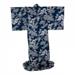 "Japonese Kimono. Cotton. ""Forest Dragon"". Navy blue. Conform Foa"