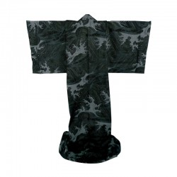 "Japonese Kimono. Cotton. ""Evening Wave"". Black. Conform Foam"
