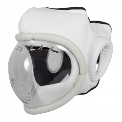 Head guard PU with mask. White colour.