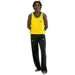 T-shirt Capoeira. Yellow with two green stripes