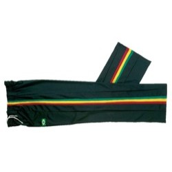 Capoeira Trousers. Black, red/ yellow/ green stripes.
