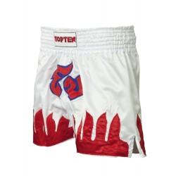 Thaibox-shorts Flames Blanc