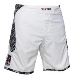 "MMA Short TOP TEN ""Cage"" white/black"