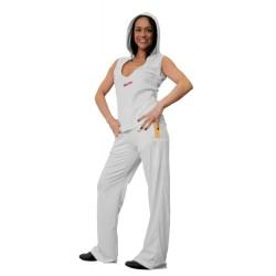 Sweat à capuche sans manches pour les femmes avec un décolleté bas blanc