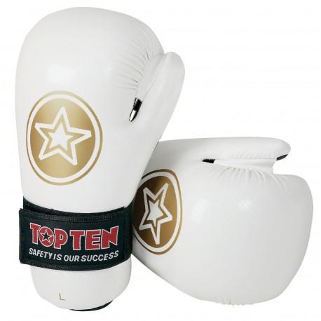 """Semi-Gloves TOP TEN Pointfighter """"Star"""" white/gold"""