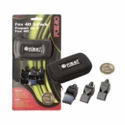 Pack of 3 FOX whistles with case