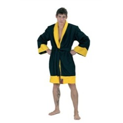 Boxing robe. Polyester. Black and yellow.(Fujimae)