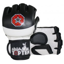Free fight gloves TOP TEN MMA black/white, leather/PU