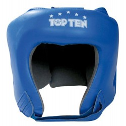 Headguard TOP TEN Leather blue, incl. AIBA-Label