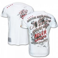 T-Shirt Never give up, white