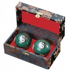 Steel musical balls Enamelled with Yin Yang symbols Kwon