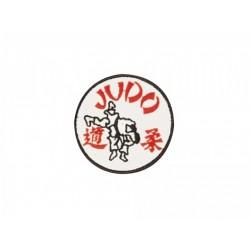 Sewn badge Judo white/red Kwon