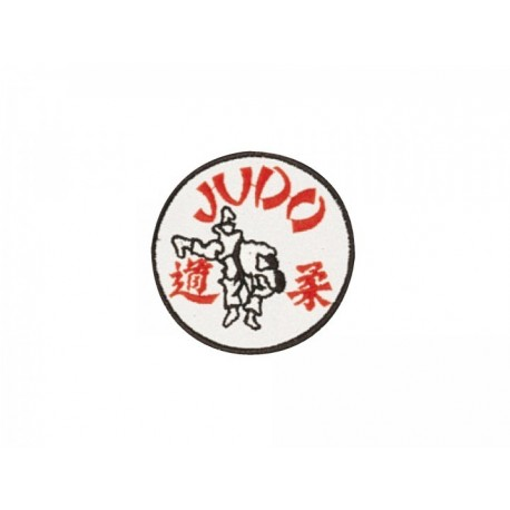 Sewn badge Judo white/red Kwon